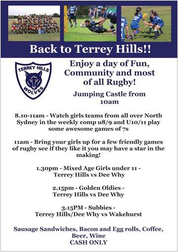 Back to Terrey Hills Day - come and enjoy the Rugby....
