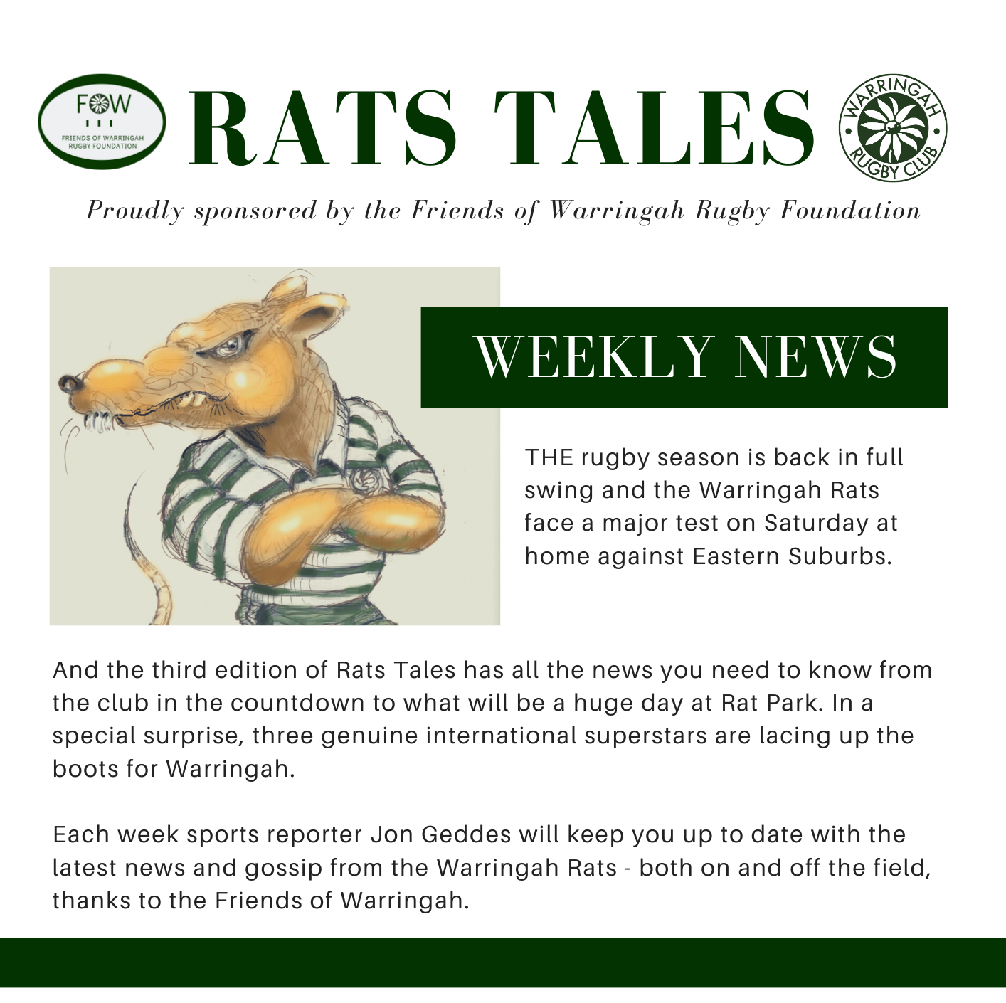 Rats Tales Newsletter - Proudly sponsored by the Friends of Warringah Rugby Foun...