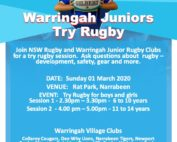 Winter sport is just around the corner.  This Sunday Warringah Rugby are holding...