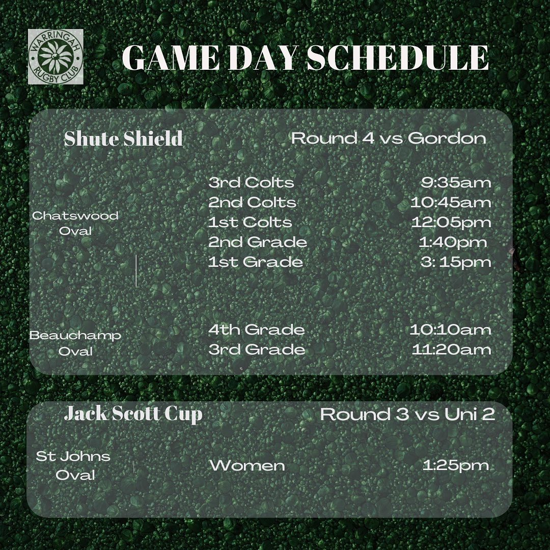 Game Day Schedule...