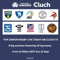 Elite Junior Rugby LIVE on @cluch.tv  today. Six big matches from U/11 up to Ope...