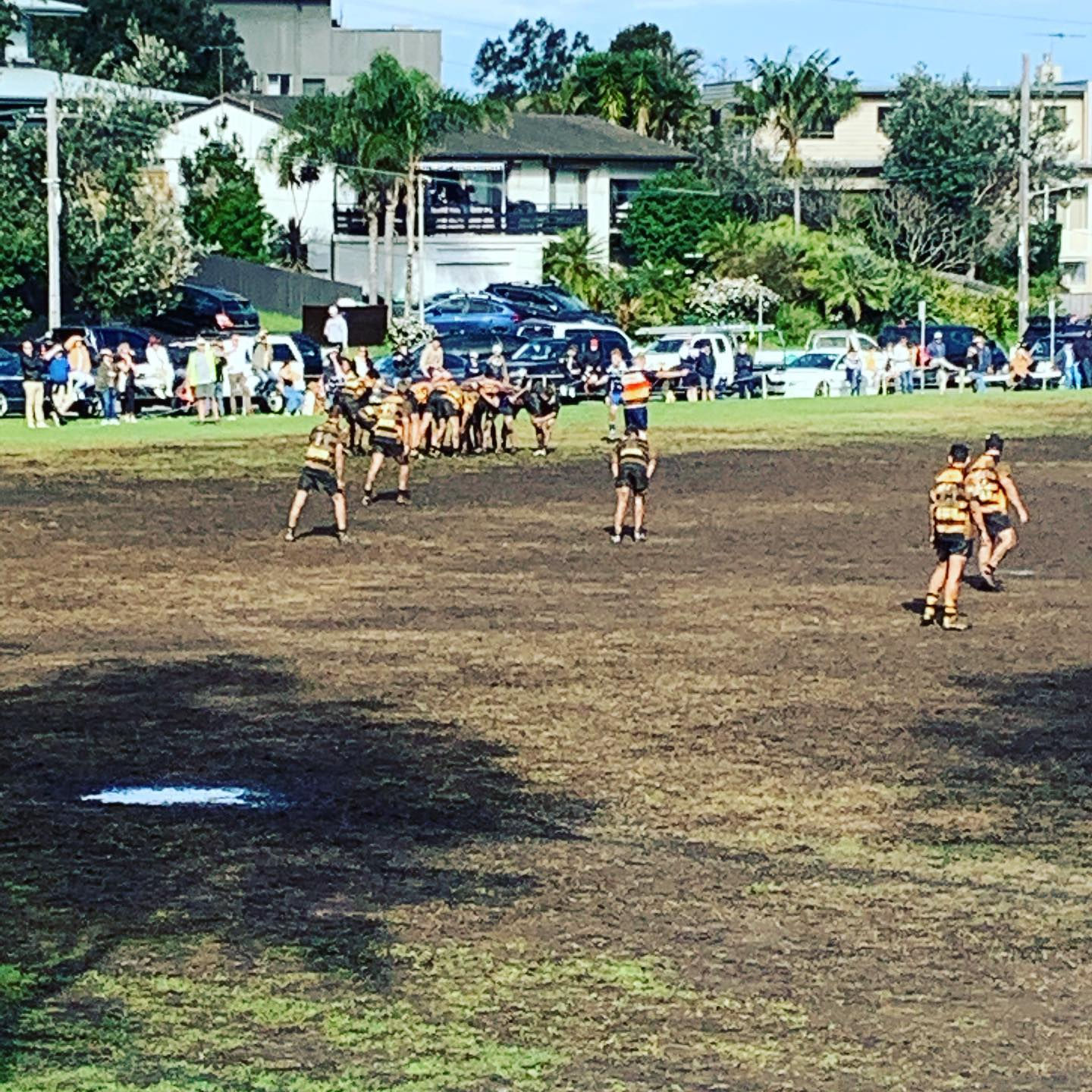 U16's having a great game vs local rivals Narrabeen. very tight game with a 12-1...