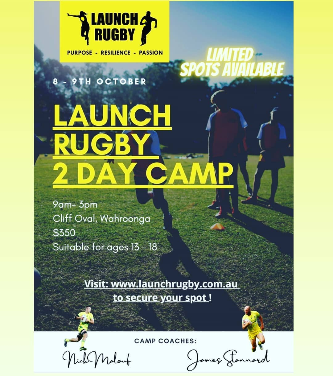 To secure your spot at the Launch Rugby 2 day camp visit:...