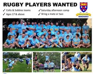 """Image may contain: 12 people, people playing sport, shorts and outdoor, text that says """"RUGBY PLAYERS WANTED Colts & Subbies teams Saturday afternoon comp Ages 17 & above Bring a mate or two 1965 2015 Dearsef Club WAKEHURST JES"""""""