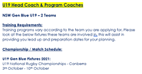 """Image may contain: text that says """"U19 Head Coach & rogram Coaches NSW Gen Blue ሀ19 19-2 Teams Training Requirements: Training programs vary according to the team you are applying for. Please look at the below fixtures these teams are involved in. this will assist in providing you lead up and preparation dates for your planning. Championship Match Schedule: ሀ19 Gen Blue Fixtures 2021: 019 National Rugby Championships Canberra 3rd October- 10th October"""""""
