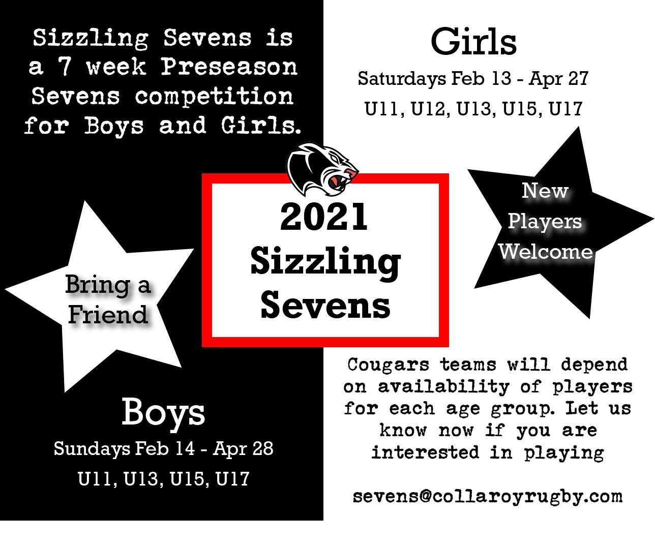 Sizzing Sevens starts in 3 weeks and thi