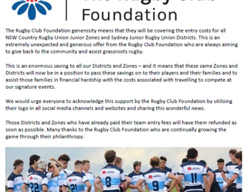 Big Thank You to The Rugby Club Foundati