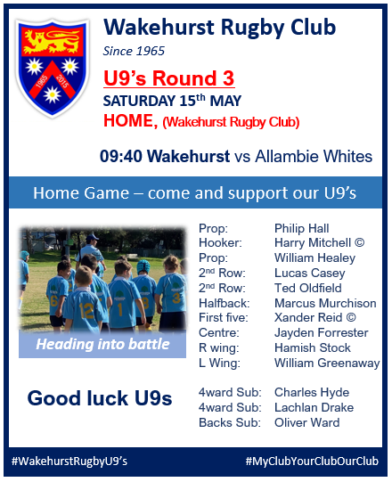 U9's are playing at HOME this Saturday,