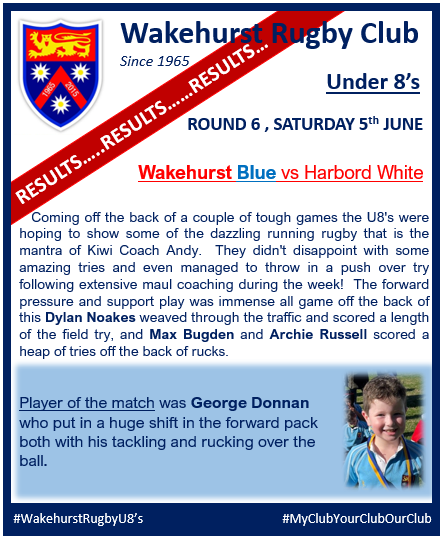 U8s results are in from our #WakehurstMi